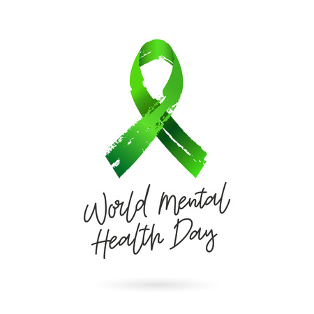 World Mental Health Day with Green ribbon from brush strokes.