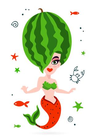 Beautiful mermaid. Tasty watermelon. Vector illustration on white background. Summer print on a T-shirt.