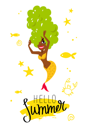 Hello summer. Beautiful mermaid. Delicious grapes. Vector illustration on a white background with a yellow ink stroke. Lettering and calligraphy