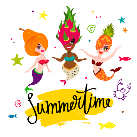 Summertime. Beautiful mermaids. Tasty pear, pineapple, dragonfruit. Vector illustration on a white background with a yellow ink stroke. Lettering and calligraphy. Stock Illustratie