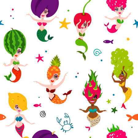 Vector sea pattern of beautiful mermaids on a white background. Excellent print for fabric and designer paper. Delicious fruit and berries. Lemon, cherry, watermelon, plum, grapes, dragonfruit, raspberry, pineapple Ilustrace
