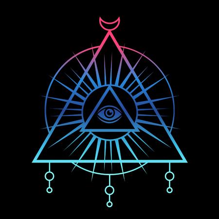 All-seeing eye symbol. Sacred geometry, third eye. Tattoo mystic design. Vector illustration on a black background.