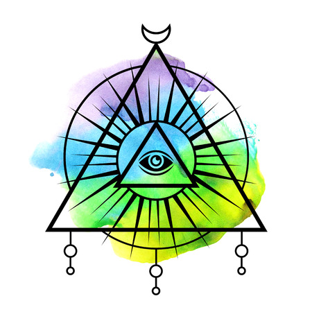 All-seeing eye symbol. Sacred geometry, third eye. Tattoo mystic design. Abstract watercolor on white background