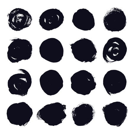 Set of hand drawn grunge black circle. Hand painted ink blob button. Vector illustration on a white background