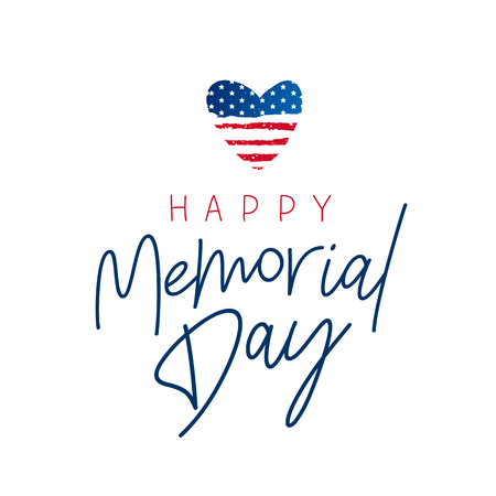 Happy Memorial Day card. National american holiday vector illustration with USA flag. Lettering and calligraphy.