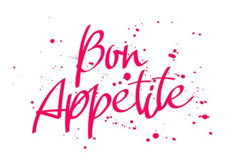 Bon appetit in Italian calligraphy on white.