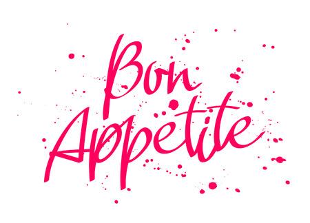 Bon appetit in Italian calligraphy on white.