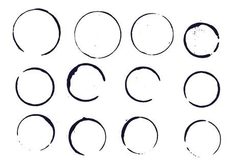 Set of black round stains and blots on white background. Vector illustration. Elemens for design. Foto de archivo - 103589705