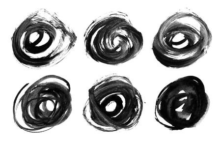 Set of black circles. Abstract watercolor brush strokes on a white background. Elements for design.