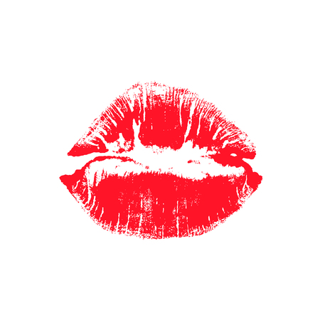 Sexy lips makeup. Red lipstick kiss on white background. Vector female mouth.