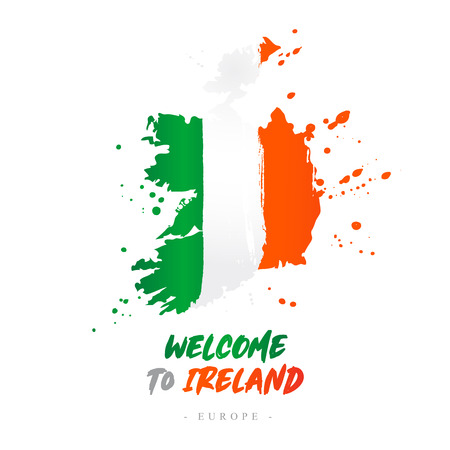 Welcome to Ireland. Europe. Flag and map of the country of Ireland from brush strokes. Lettering. Vector illustration on white background. Illustration