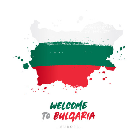 Welcome to Bulgaria. Europe. Flag and map of the country of Bulgaria from brush strokes. Lettering. Vector illustration on white background.