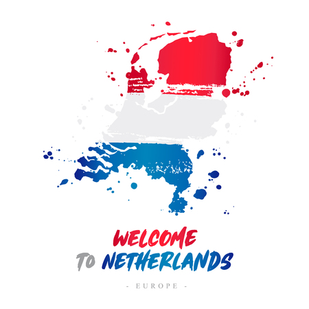 Welcome to Netherlands. Europe. Flag and map of the country of Netherlands from brush strokes. Lettering. Vector illustration on white background. 스톡 콘텐츠 - 103080934