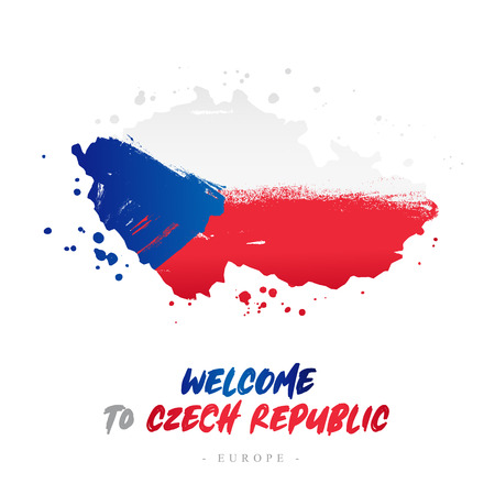 Welcome to Czech Republic. Europe. Flag and map of the country of Czech Republic from brush strokes. Lettering. Vector illustration on white background.