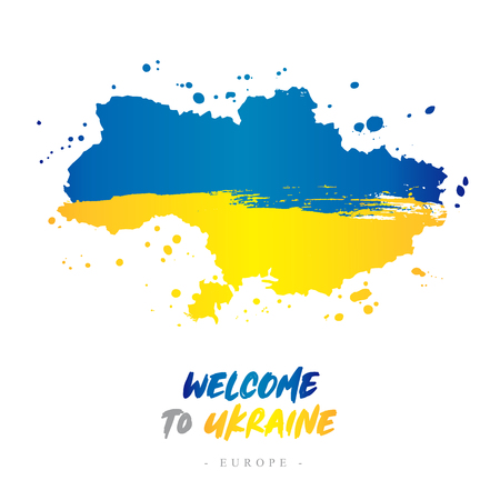 Welcome to Ukraine. Europe. Flag and map of the country of Ukraine from brush strokes.Lettering. Vector illustration on white background.