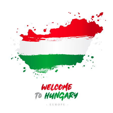 Welcome to Hungary. Europe. Flag and map of the country of Hungary from brush strokes. Lettering. Vector illustration on white background.