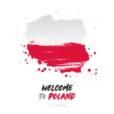 Welcome to Poland. Europe. Flag and map of the country of Poland from brush strokes.Lettering. Vector illustration on white background.