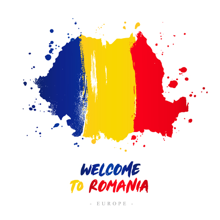 Welcome to Romania. Europe. Flag and map of the country of Romania from brush strokes. Lettering. Vector illustration on white background.