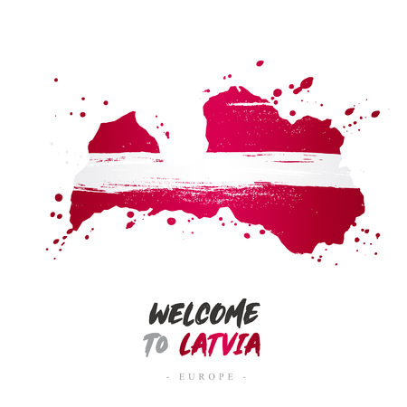 Welcome to Latvia. Europe. Flag and map of the country of Latvia from brush strokes.Lettering. Vector illustration on white background.