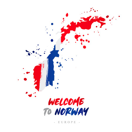 Welcome to Norway. Europe. Flag and map of the country of Norway from brush strokes.Lettering. Vector illustration on white background.