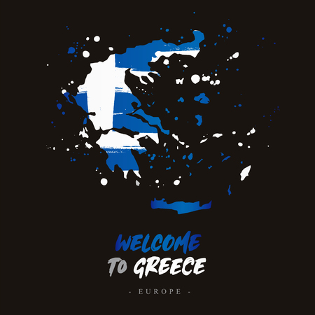 f6ae374cb98 Welcome to Greece. Europe. Flag and map of the country of Greece from brush