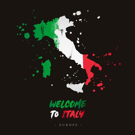 Bienvenido a Italia. Europa. Bandera y mapa del país de Italia de trazos de pincel. Letras. Ilustración de vector sobre fondo negro.