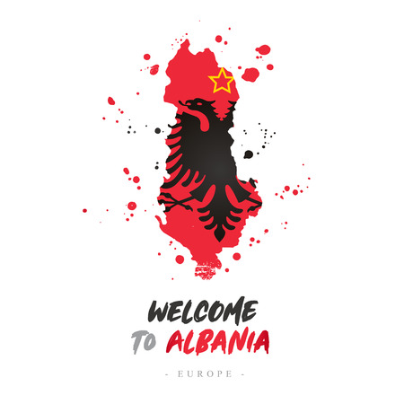 Welcome to Albania. Europe. Flag and map of the country of Albania from brush strokes.Lettering. Vector illustration on white background.