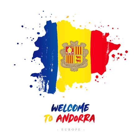 Welcome to Andorra. Europe. Flag and map of the country of Andorra from brush strokes. Lettering. Vector illustration on white background.
