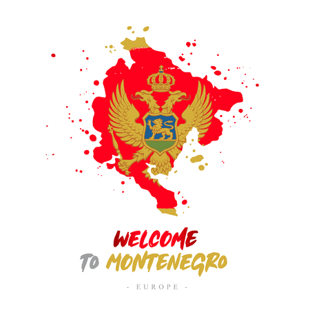 Welcome to Montenegro. Europe. Flag and map of the country of Montenegro from brush strokes. Lettering. Vector illustration on white background.