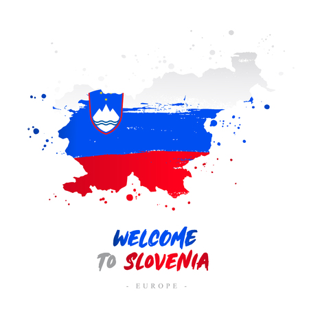 Welcome to Slovenia. Europe. Flag and map of the country of Slovenia from brush strokes. Lettering. Vector illustration on white background. Çizim