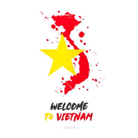 Welcome to Vietnam. Asia. Flag and map of the country of Vietnam from brush strokes.Lettering. Vector illustration on white background. Ilustração