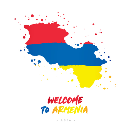 Welcome to Armenia. Asia. Flag and map of the country of Armenia from brush strokes.Lettering. Vector illustration on white background. Illustration