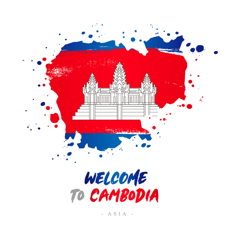 Welcome to Cambodia. Asia. Flag and map of the country of Cambodia from brush strokes. Lettering. Vector illustration on white background.