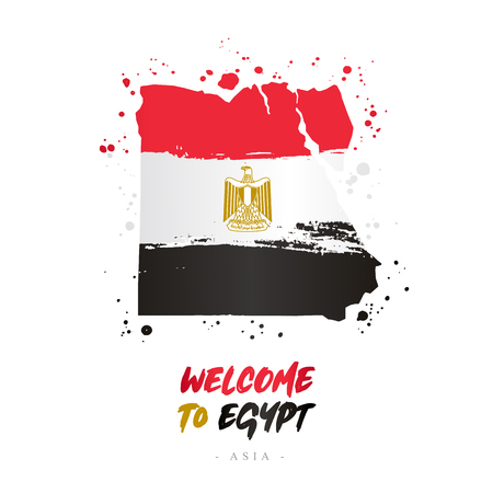 Welcome to Egypt. Asia. Flag and map of the country of Egypt from brush strokes.Lettering. Vector illustration on white background. Illustration