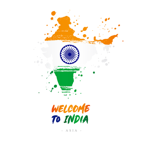 Welcome to India. Asia. Flag and map of the country of India from brush strokes.Lettering. Vector illustration on white background.