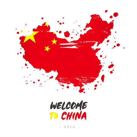 Welcome to China. Asia. Flag and map of the country of China from brush strokes.Lettering. Vector illustration on white background.