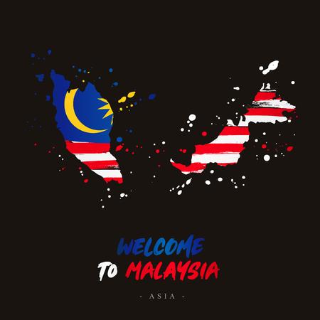 Bienvenue en Malaisie. Asie. Drapeau et carte du pays de la Malaisie à partir de coups de pinceau. Illustration vectorielle sur fond noir.
