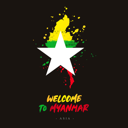 Welcome to Myanmar. Asia. Flag and map of the country of Myanmar from brush strokes.Lettering. Vector illustration on black background.