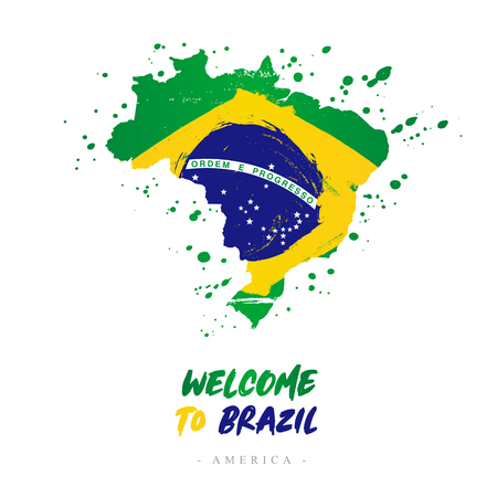 Welcome to Brazil. America. Flag and map of the country of Brazil from brush strokes.Lettering. Vector illustration on white background. Illustration