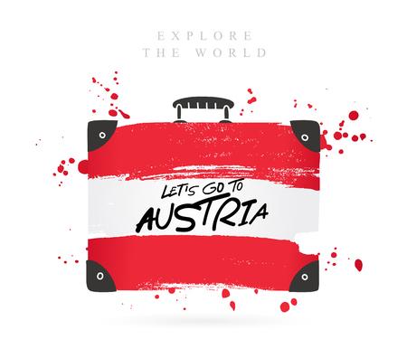Koffer met de vlag van Oostenrijk. Inschrijving - Laten we naar Oostenrijk gaan. Belettering. Vectorillustratie op witte achtergrond. Vector Illustratie