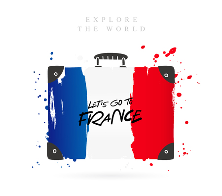 Suitcase with the flag of France. Inscription - Lets go to France. Lettering. Vector illustration on white background. Illustration