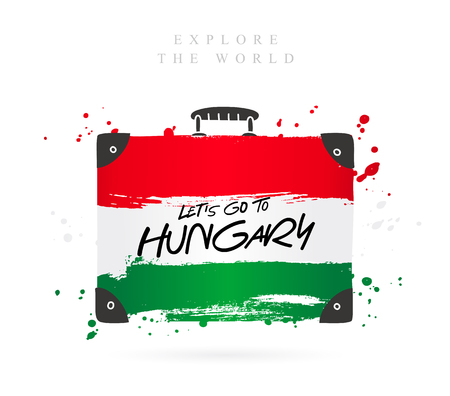 Suitcase with the flag of Hungary. Inscription - Let's go to Hungary. Lettering. Vector illustration on white background. Vettoriali