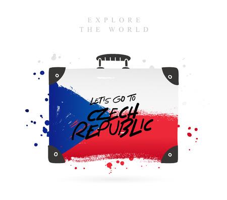 Koffer mit der Flagge der Tschechischen Republik. Inschrift - Gehen wir nach Tschechien. Beschriftung. Vektorillustration auf weißem Hintergrund.