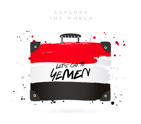 Suitcase with the flag of Yemen. Inscription - Let's go to Yemen. Lettering. Vector illustration on white background.