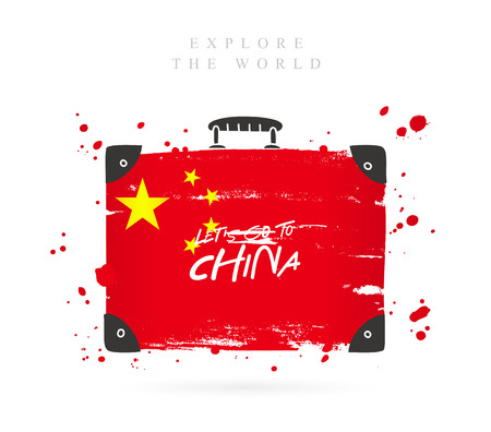 Suitcase with the flag of China. Inscription - Let's go to China. Lettering. Vector illustration on white background. Reklamní fotografie - 104428579