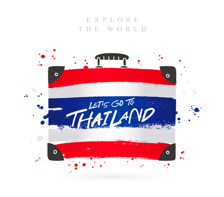Suitcase with the flag of Thailand. Inscription - Lets go to Thailand. Lettering. Vector illustration on white background.