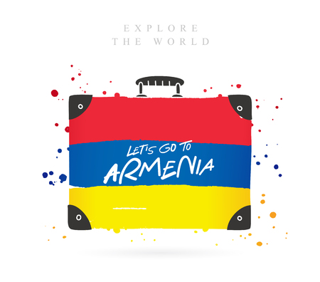 Suitcase with the flag of Armenia. Inscription - Lets go to Armenia. Lettering. Vector illustration on white background.