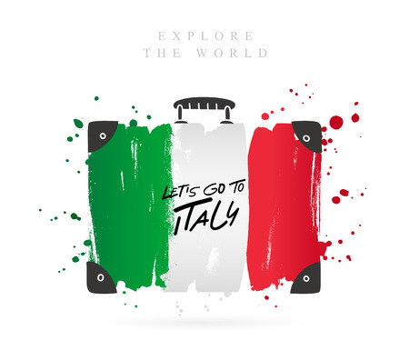 Suitcase with the flag of Italy. Inscription - Let's go to Italy. Lettering. Vector illustration on white background. Vettoriali