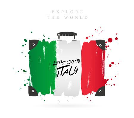 Valigia con la bandiera dell'Italia. Iscrizione - Andiamo in Italia. Lettering. Illustrazione vettoriale su sfondo bianco. Vettoriali