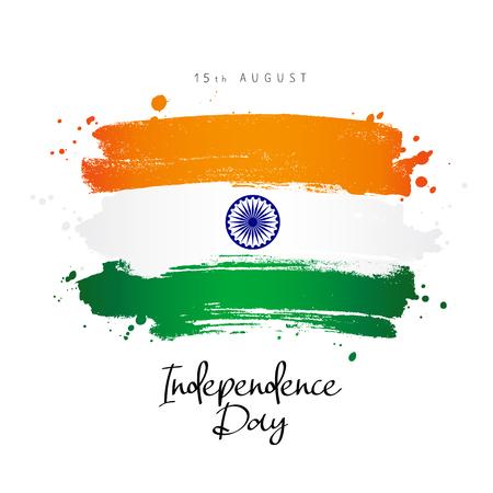 Día de la Independencia de la India. Bandera de la India. 15 de agosto. Ilustración de vector sobre fondo blanco. Letras.